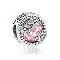 Wholesale Heart Lampwork - 925 Sterling Silver Bead Charm Openwork Dazzling Daisy Meadow With Crystal Beads Fit Women Pandora Bracelet Bangle DIY Jewelry HK3756
