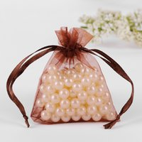 Wholesale Organza Gift Bags Cheap - Wholesale- 7x9cm Brown Organza Jewelry Gift Bags Small Drawstring Bag Cheap Wedding Gift Bags Customed Logo Printed 100pcs lot Wholesale