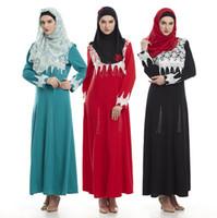 imagens de muslim women clothing venda por atacado-Roupas Malásia Abaya Turquia Mulheres Muçulmanas Bordado Vestido de Fotos Roupas das Mulheres turcas Turquia Robe Islâmico Dubai Vestidos Longo Giyim