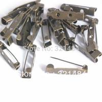 Wholesale Antique Bar Pin - bulk 500piece 30mm 2 hole Antique bronze brass safety pin brooch bar pin backs findings jewelry making supplies