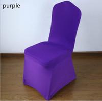 фиолетовый декор стула оптовых-Бесплатная доставка универсальный фиолетовый стрейч полиэстер свадьба спандекс чехлы на стулья для свадьбы банкетный отель украшения декор