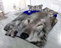 ensembles de couette animaux achat en gros de-Dessins personnalisés peuvent être personnalisés 3D Grey Wolf numérique impression coton satin 4 pièces coton housse de couette ensembles ensembles de literie