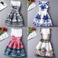 Wholesale Digital Print Vintage Dress - New spring Summer 2016 women Dress Vintage Digital evening party Print Vestidos Femininos club de festa Casual Dresses Plus Size
