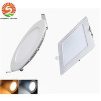 """Wholesale Led Round Slim - Square Round 9W 12W 15W 18W 24W Dimmable Led Slim Panel Lights Recessed Downlights 4"""" 5"""" 6"""" 7"""" 8"""" AC 110-240V + Drivers"""