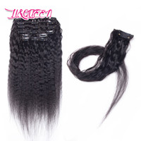 Wholesale mixed color clip weave for sale - Group buy Clip In Human Hair Extensions Kinky Straight Brazilian Virgin Hair Unprocessed Kinky Straight Natural Color Human Hair Weaves