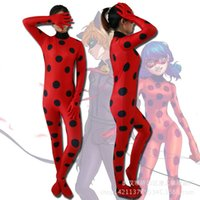 Wholesale Mascot Ladybug Costume - Miraculous Ladybug Girl Cosp Costume mascot Kids Second Skin Tight Suit Turtleneck Women Halloween Party Tight Suit
