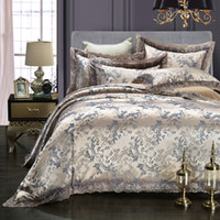 Wholesale Silver King Size Comforter Set - Golden gray grey silk bedding set modal bed linens lace bed clothes queen king size comforter duvet cover bed sheet pillowcase hot sale 5815