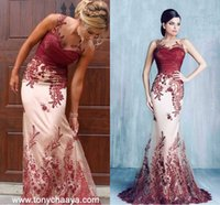 Wholesale Red Full One Piece Dress - Tony Chaaya Burgundy Lace Detail Mermaid Long Evening Dresses 2018 Sheer Neck Full length Custom Make Occasion Prom Party Gowns Wear