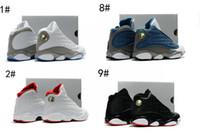 Wholesale Massage 18 - 2017 new RETRO 13 XIII WHITE NEUTRAL GREY UNIVERSITY BLUE kids basketball shoes 13 XIII Retro French Blue Flint Grey boy and girls shoes