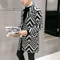 Wholesale Men Long Trench Coat Patterns - Wholesale- 2016 2017 new spring autumn high quality fashion Zebra pattern overcoat male long trench coats men winter jacket men 5Z