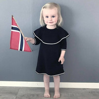 Wholesale Boutique Style Dresses Wholesale - Boutique sweater girl's dress Baby Kids Clothing Ins knitted wool cotton princess skirt fashion European and American style baby dress 1484