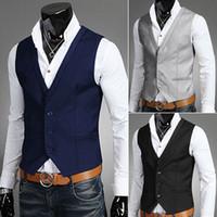 Wholesale Korean Mens Blazers - Men Vests Outerwear Mens Casual Suits Slim Fit Stylish Short Suit Blazer Jackets Coats Korean wedding vest hot sale