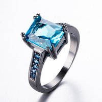Wholesale Blue Female Rings - JUNXIN New Fashion Female Light Blue Ring Fashion High Quality Black Gold Filled Jewelry Vintage Party Wedding Rings For Women