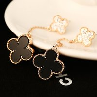 Wholesale Gold Leafs Drop Earring - fashion brand jewelry accessories for women rose gold four leaf clover earrings drop for wedding party statement