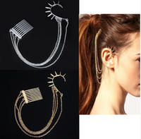 Mode 6pc Gothic Punk Silber / Gold Spikes Ohrstulpe Wrap Haar Kamm Multi-Kette Ohrringe [JH01019A JH01019B * 3]