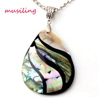 black mother of pearl pendant - Natural Abalone Shell Splicing Pyriform Water Drope Pendants Necklace Chain Charms Accessories Silver Plated European Trendy Jewelry