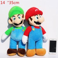 Wholesale Medium Size Plush Toys - 1Pcs Medium Size 14inch 35cm Super Mario Luigi Plush Toy Soft Dolls For Children High Quality Free Shipping