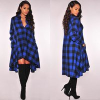 Wholesale Women Checked Shirts - Women Boyfriend Style Long Sleeve Lapel Collar Dress Grid Plaid Check Flannel Shirt Dress Loose Long Blouses Knee Length Vestido