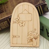 Wholesale Door Crafts - Wooden Fariy Door 3mm Unpainted Plaque Laser Cut Wooden Fairy Faerie Elf Doors Craft