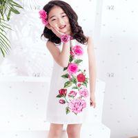 Wholesale Girls Rose Floral Dress - W.L.MONSOON Girls Rose Flower Dress Summer 2017 Brand Handmade Children Princess Costumes Kids Dresses Robe Enfant Girls Clothes