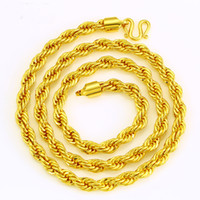 Wholesale Men S Rope Chain - Fashion Classic Jewelry Men 's Necklace 24K Gold Plated Twisted Rope Twist Chain Necklace Chain Length A4014