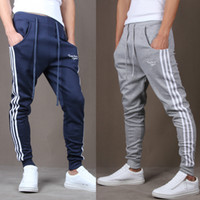 Wholesale Harem Sport Trousers Men - Wholesale-Hot! 2016 New Brand Mens Joggers Casual Harem Sweatpants Sport Pants Men Gym Bottoms Track Training Jogging Trousers+