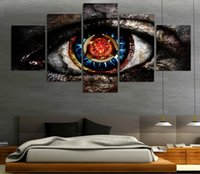 Wholesale paintings big eyes - 5pcs set Big Eye Wall Art Oil Painting On Canvas (No Frame) Abstract Textured Abstract Paintings Picture Living Room Decor