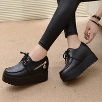 Wholesale Gold White Platform Heels - 2017 New Black White Hidden Wedge Heels Fashion Women's Elevator Shoes PU Casual Shoes For Women Wedge heel Platform shoes