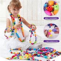 Wholesale Wholesale Childrens Beads - Wholesale- Childrens Kids String Along Wooden Lacing Threading Beads Tub Shapes Toys for Kids 50 Beads