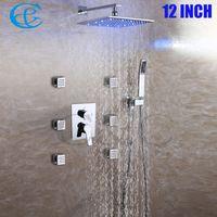 Wholesale Shower Rainfall Hand Faucet - C&C SPA Bathroom Shower Faucet Set 8-10-12 Inch Rainfall 3 Color LED Shower Heads With 6 PCS Massage Body Jets Brass Hand Shower