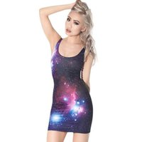 Wholesale Free Patterns Skirts - 2017 explosion models summer models ladies digital print color galaxy pattern vest skirt fashion comfortable tight