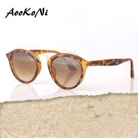 Wholesale Smallest Round Men Sunglasses - AOOKO Newest Hot Designer Brand Sunglasses UV400 UVB SMALL oval Gatsby Men Sun Glasses Women Outdoor Retro Gafas de sol unisex Sunglass 50mm