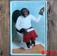 ingrosso antichi segni d'annata-Metallo Paiting Cat Dog Monkey Flamingo Artigianato vintage Targa in metallo Retro in metallo Pittura Ferro antico Poster Bar Pub Segni Wall Art Sticke
