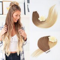 Wholesale straight thick hair online - Most Popular Double Drawn Thick Bottom Ombre Human Hair Bundle Weave Tape In Hair Extentions