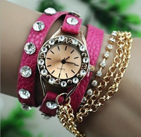 Wholesale Decorative Glass Diamonds - Watches Women fashion watch 2016 quartz Sleek And Chic Fashion Chain Decorative Ball Diamond Ladies gift Leather Watch Wholesale