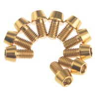 Wholesale Finish Bolts - Titanium Ti M5x12mm Hex Allen Tapered Bolt Screw Golden Finish Bicycle Screws Bike Accessory 10pcs lot