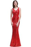 High-end-lange Pailletten Snakeskin Meerjungfrau Red Hohle Spaghetti Brautjungfern Kleider Abendgarderobe V-ausschnitt Sexy Formale Prom Cocktail Party Kleid