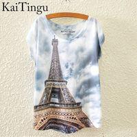 Wholesale eiffel shirt - Wholesale-KaiTingu 2016 Brand New Fashion Spring Summer Harajuku T Shirt Women Tops White O-Neck Eiffel Tower Printed Short Sleeve T-shirt