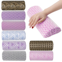 Wholesale Manicure Cushions - Soft Lace Hand Cushion Rest Pillow Nail Art Design Manicure Care Half Cylinder
