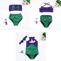 Wholesale Striped Dress Two Piece Suit - Girls Swimsuit Mermaid Tails Bikini Bottoms Fish Scale Bowknot One-piece Two-piece Suit Kids Bikini Dress Children Costume LG-3