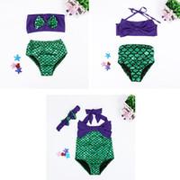 denizaltı tek parça toptan satış-Kızlar Mayo Denizkızı Kuyrukları Bikini Altları Balık Pulu Ilmek Tek parça Iki parça Suit Çocuk Bikini Elbise Çocuk Kostüm LG-3