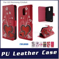 Wholesale lg flip phone leather case - PU Leather flip wallet phone case For Alcatel Crave  Pulsemix (Cricket) For LG Harmony Cricket leather Case,Cross Wallet Cover,High Quality
