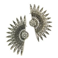 Wholesale Rhinestone Spikes Studs - Wing Jewelry Vintage Antique Silver Color White Rhinestone Spike Stud Earrings Brincos For Women