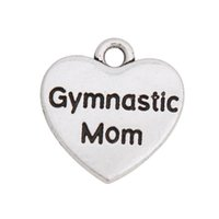 Wholesale Message Heart Charms - Double Sided Vintage Gymnastic Mom Heart Alloy Message Charms For Mother's Day 50pcs lot AAC1075