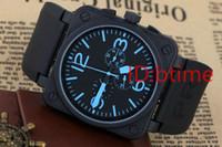 edelstahl blau groihandel-Neue Männer Automatik Mechanicl 6 Hand Edelstahl Uhr Bell Aviation Limited Edition Dive Schwarz Gummi Silber Blau Uhren free shopping