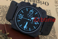 Wholesale free dive watch for sale - Group buy New Men s Automatic Mechanicl Hand Stainless Steel Watch Bell Aviation Limited Edition Dive Black Rubber Silver Blue Watches free shopping