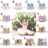 kızlar güzel şapkalar toptan satış-Kız Crown headbands Bebek korseleri Rainbow Çiçek saç bandı Glitter Gold Doğumgünü partisi Saç Aksesuarları beautiful Cake Hat