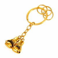 Wholesale Ring Gold Pair - U7 Cool Pair Boxing Glove Men Key Chains Fashion Stainless Steel Workout Jewelry Gold Plated Sport Fitness Charms Accessories Key Rings Gift