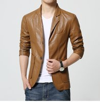 Wholesale Business Man Winter Coat Black - Motorcycle Leather Jackets Men Autumn Winter Leather Clothing Men Leather Jackets Male Business Khaki Color casual Coats