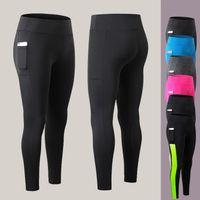девочки, бегущие за брюками оптовых-Спортивные брюки для девочек Yoga Pants Бег Спортивные колготки Женская одежда для фитнеса Slim Fit Gym Leggings Спандекс Спортивные брюки для женщин